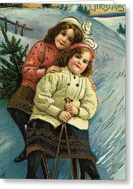Sledge Greeting Cards - A Merry Christmas Postcard with Sledding Girls Greeting Card by American School