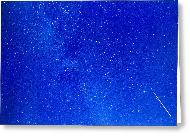 Perseid Meteor Shower Greeting Cards - A Meteor Track From The Perseid Meteor Shower Greeting Card by Pekka Parviainen