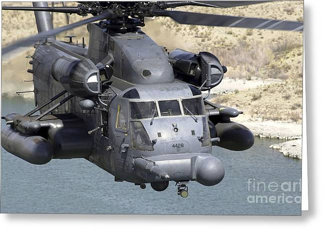 Rotary Wing Aircraft Photographs Greeting Cards - A Mh-53j Pave Low Iiie Heavy-lift Greeting Card by Stocktrek Images
