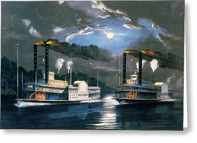 Flora Greeting Cards - A Midnight Race on the Mississippi Greeting Card by Currier and Ives