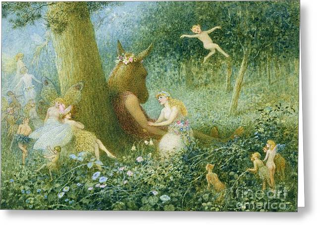 Puck Paintings Greeting Cards - A Midsummer Nights Dream Greeting Card by HT Green