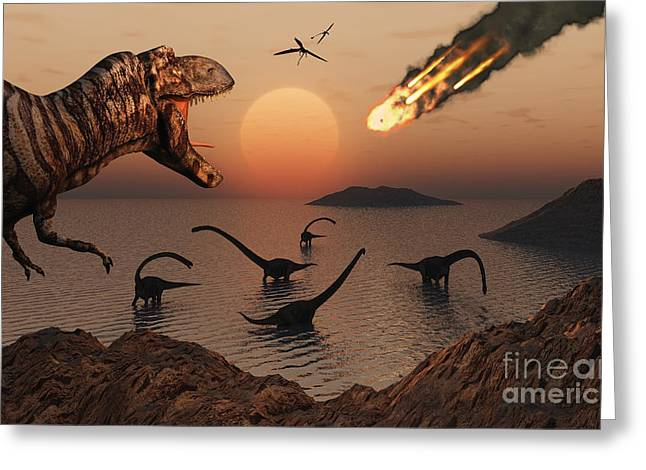 Wildlife Disasters Greeting Cards - A Mighty T. Rex Roars From Overhead Greeting Card by Mark Stevenson