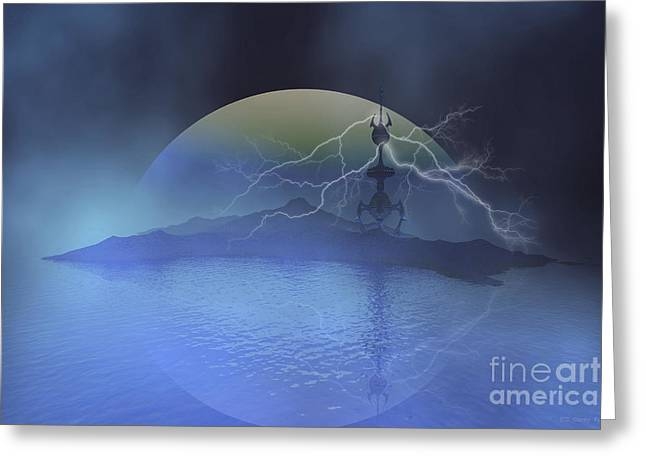 Images Lightning Digital Art Greeting Cards - A Military Base On Another Planet Greeting Card by Corey Ford