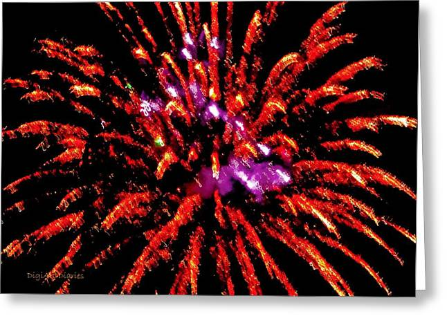 Purple Fireworks Greeting Cards - A Million Trails Greeting Card by DigiArt Diaries by Vicky B Fuller