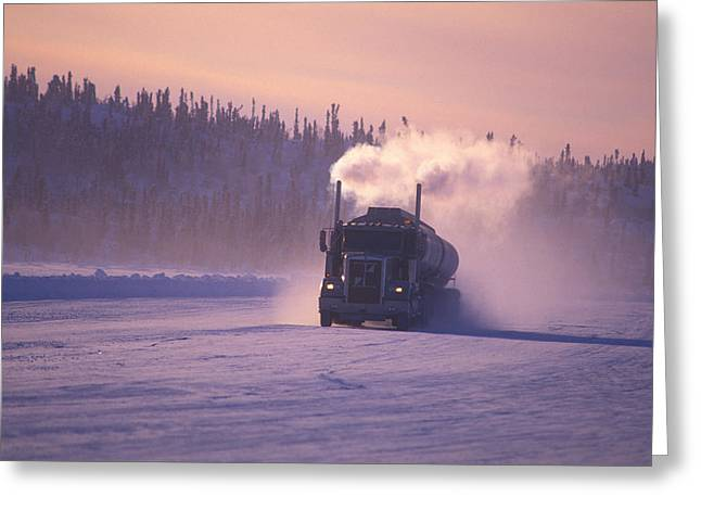 People On Ice Greeting Cards - A Mine Transport Truck Drives Greeting Card by Nick Norman