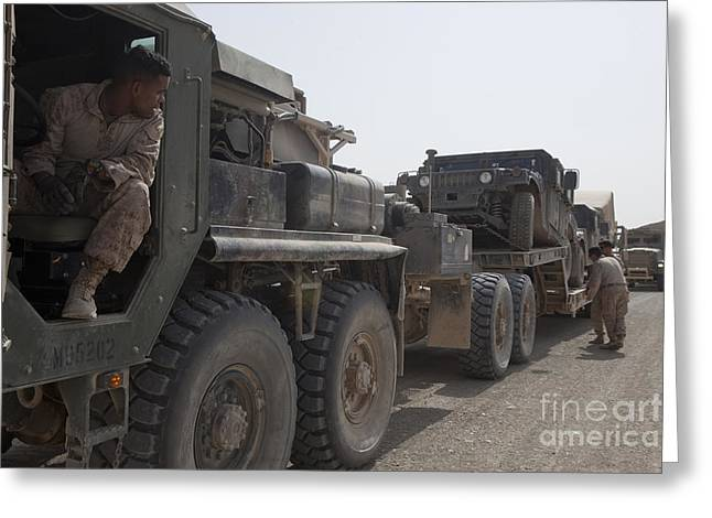 Convoy Greeting Cards - A Mk48 Logistics Vehicle System Greeting Card by Stocktrek Images