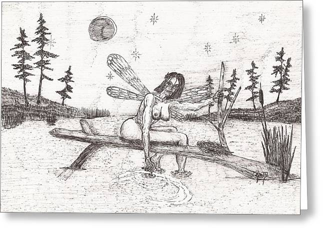 Robert Meszaros Drawings Greeting Cards - A Moment With The Moon... - Sketch Greeting Card by Robert Meszaros