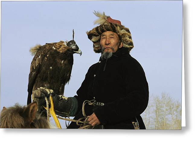 Falconry And Falconry Equipment Greeting Cards - A Mongolian Eagle Hunter In Kazakhstan Greeting Card by Ed George