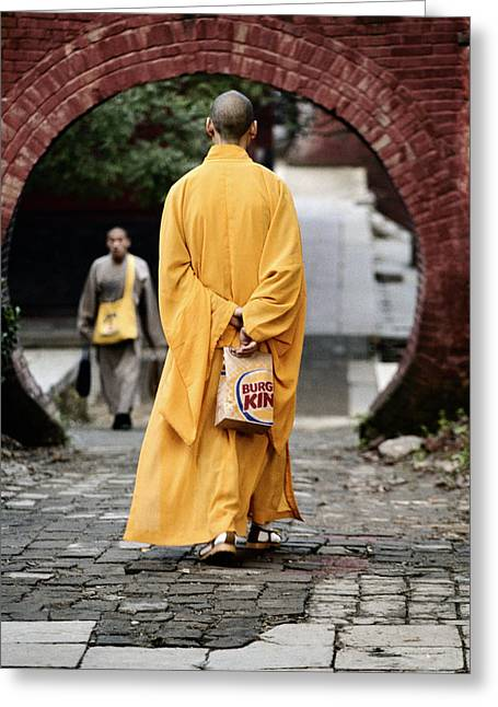 Burger King Greeting Cards - A Monk At The Shaolin Temple In China Greeting Card by Justin Guariglia