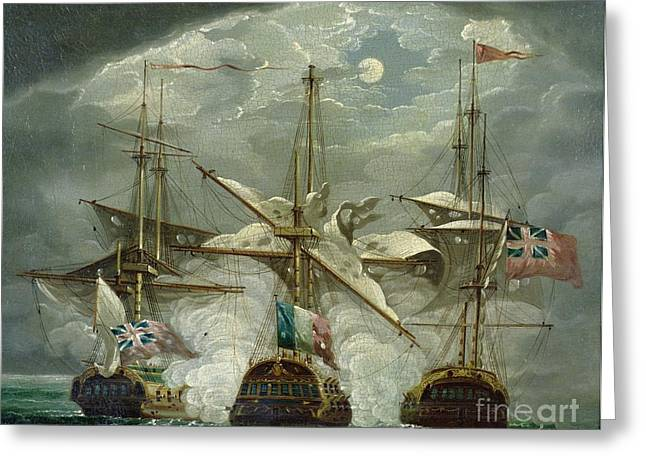 Moonlight Scene Paintings Greeting Cards - A Moonlit Battle Scene Greeting Card by Robert Cleveley