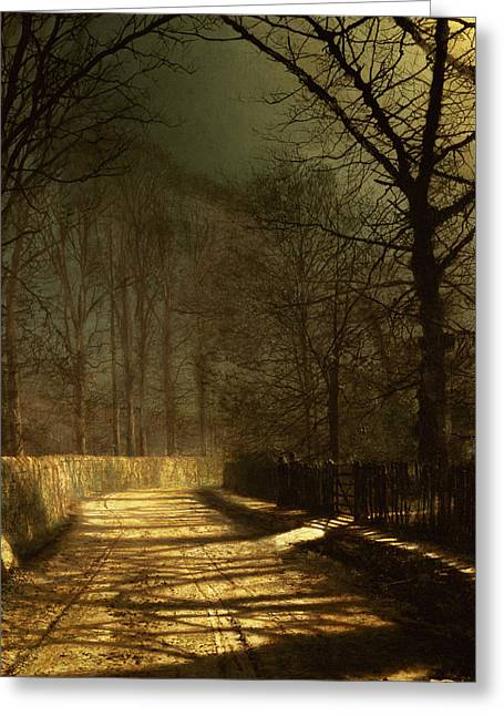 Lighted Pathway Greeting Cards - A Moonlit Lane Greeting Card by John Atkinson Grimshaw