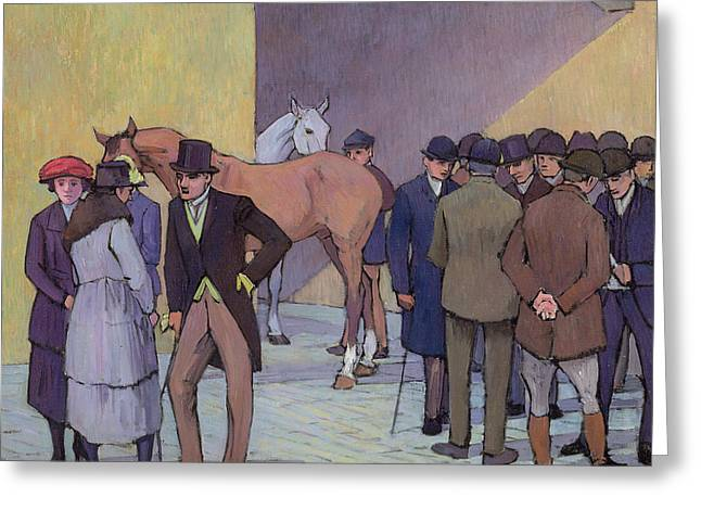 Bowler Greeting Cards - A Morning at Tattersalls Greeting Card by Robert Polhill Bevan