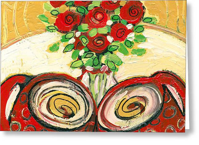 Coffee Paintings Greeting Cards - A Morning Toast to Romance Greeting Card by Jennifer Lommers