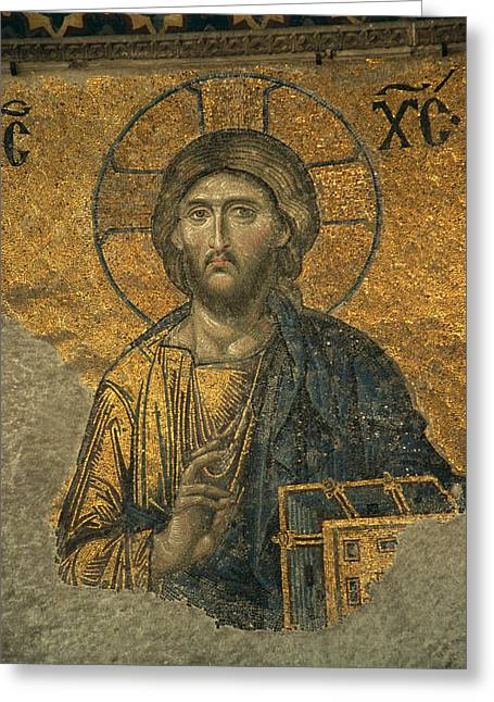 Characters And Scenes In History And The Arts Greeting Cards - A Mosaic Of Jesus The Christ At St Greeting Card by Tim Laman