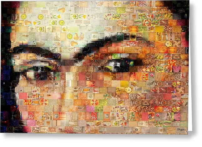 Eyebrow Mixed Media Greeting Cards - A Mosaic of Life Thru Her Eyes Greeting Card by Paula Ayers