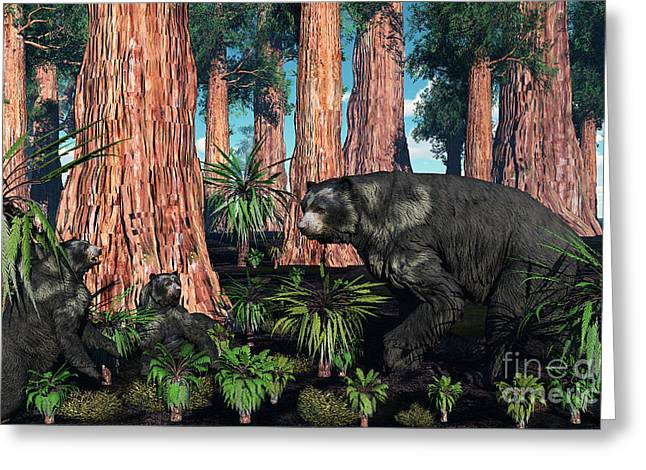 Caring Mother Digital Greeting Cards - A Mother Arctodus Bear With Her Twin Greeting Card by Mark Stevenson