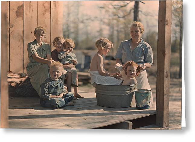 Informal Portraits Greeting Cards - A Mother Bathes Her Children Greeting Card by J. Baylor Roberts