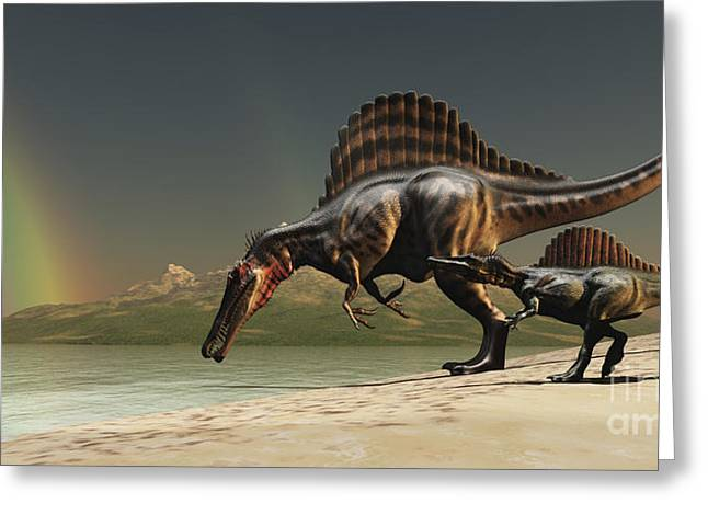 Caring Mother Digital Greeting Cards - A Mother Spinosaurus Brings Greeting Card by Corey Ford