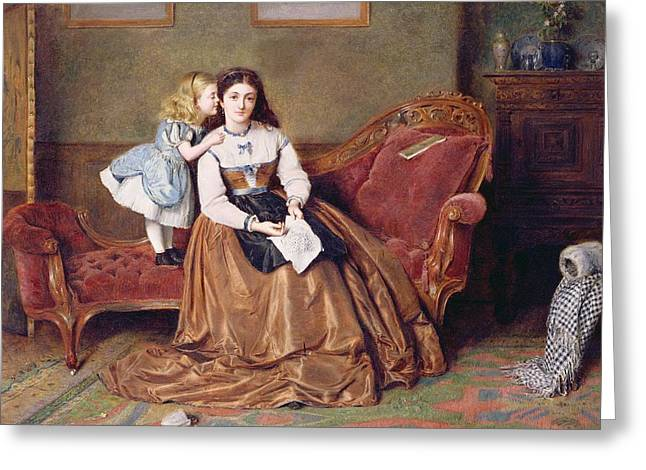 Chaise Greeting Cards - A Mothers Darling Greeting Card by George Goodwin Kilburne