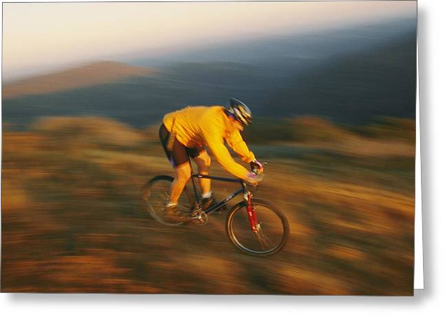 A Mountain Biker Blurs Greeting Card by Skip Brown