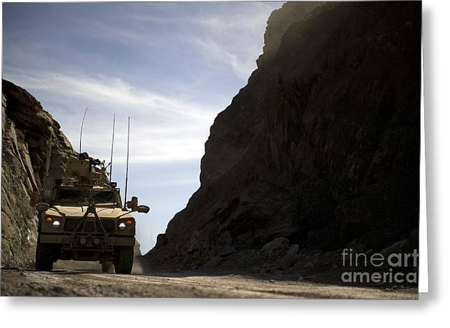 Zabul Greeting Cards - A Mrap Vehicle Drives Greeting Card by Stocktrek Images
