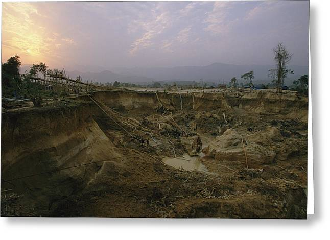 Gold Industry And Production Greeting Cards - A Muddy Hole In The Earth Where Gold Greeting Card by Steve Winter