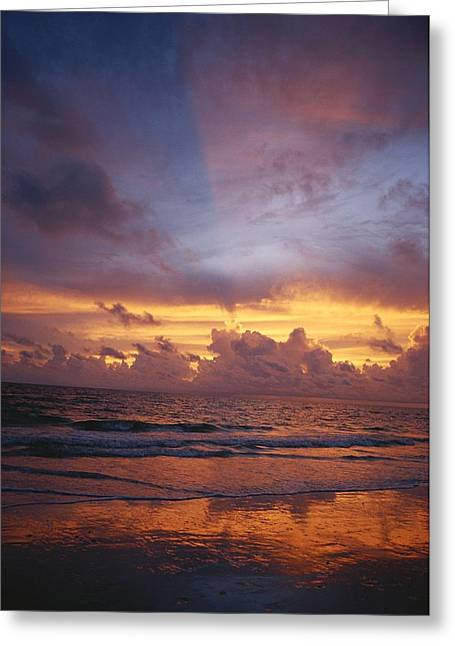 Sunset Scenes. Greeting Cards - A Multi-hued Sunset Over Marco Island Greeting Card by Raul Touzon
