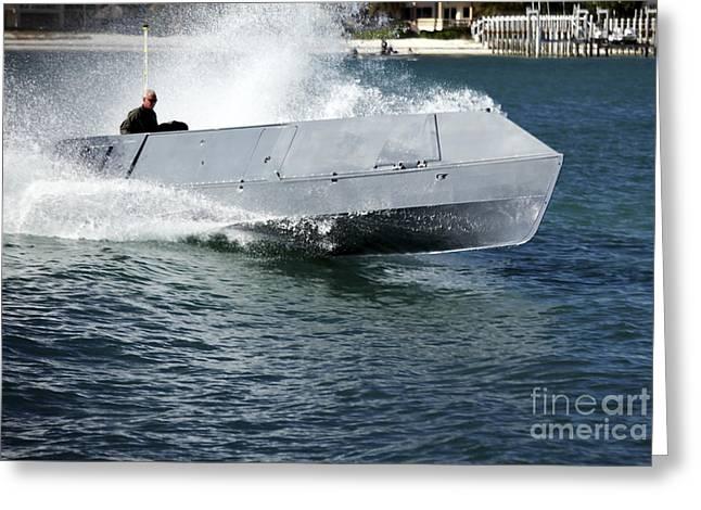 Inflatable Boats Greeting Cards - A Multi-role Combat Craft Underway Greeting Card by Michael Wood