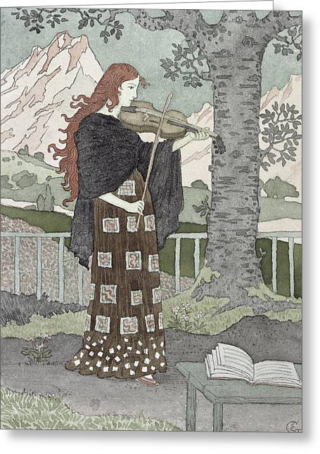 Book On A Table Greeting Cards - A Musician Greeting Card by Eugene Grasset