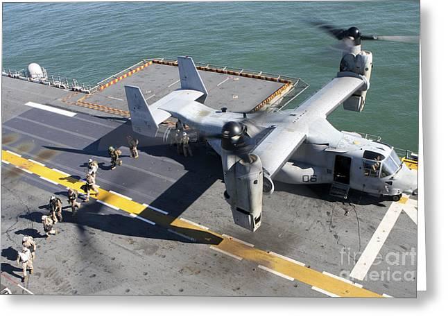 Mv Greeting Cards - A Mv-22 Osprey Skillfully Lands Greeting Card by Stocktrek Images