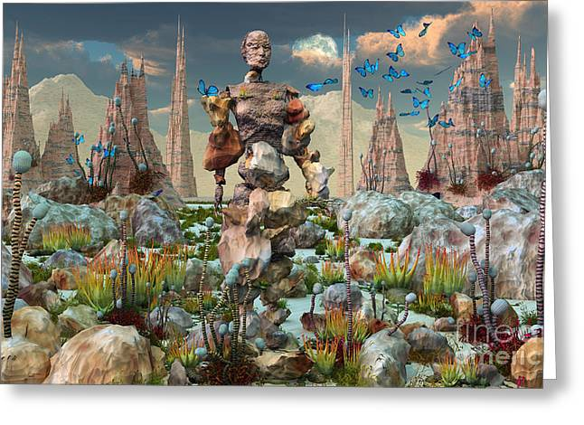 Human Existence Greeting Cards - A Mysterious Stone Android Stands Alone Greeting Card by Mark Stevenson