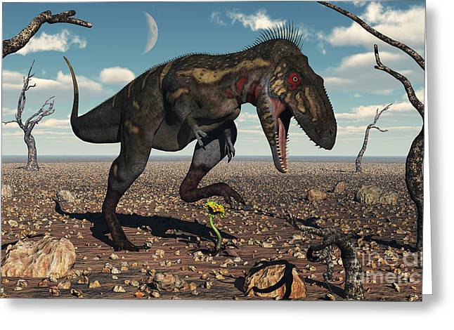 Foot Steps Greeting Cards - A Nanotyrannus Crushes The Last Flower Greeting Card by Mark Stevenson