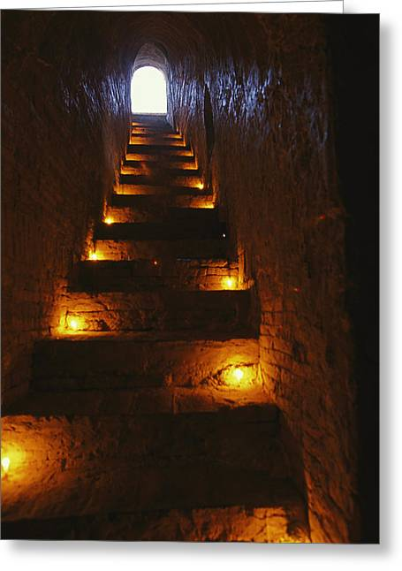 A Narrow Staircase Lit With Candles Greeting Card by Richard Nowitz