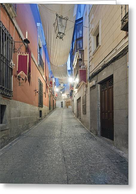 Castile La Mancha Greeting Cards - A Narrow Street Of Houses Greeting Card by Rob Tilley