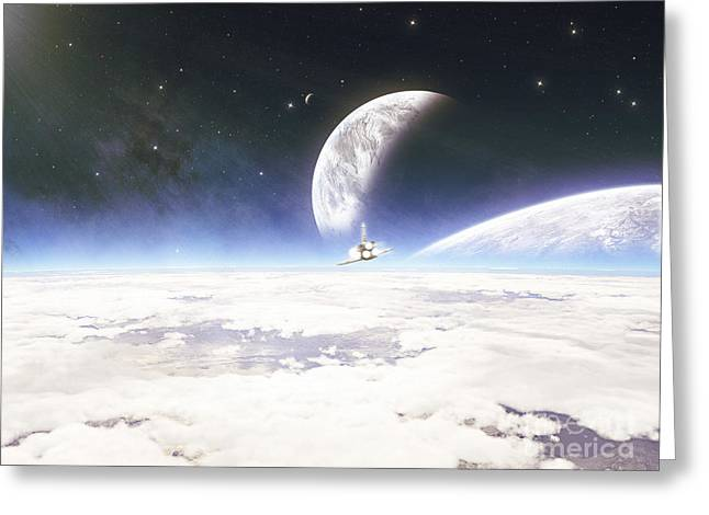 Destiny Greeting Cards - A Nasa Spacecraft Begins It Approach Greeting Card by Kevin Lafin