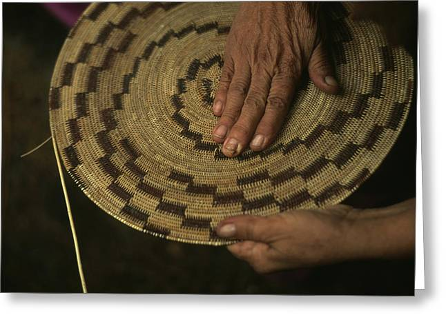 Basketmaking Greeting Cards - A Native American Basket Weaver Greeting Card by Phil Schermeister