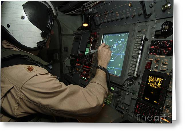 Command Center Greeting Cards - A Naval Flight Officer Tracks Aircraft Greeting Card by Stocktrek Images