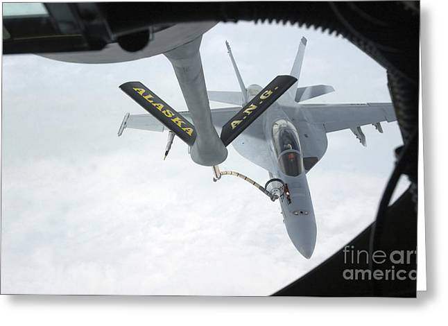 F-18 Greeting Cards - A Navy Fa-18f Super Hornet Is Refueled Greeting Card by Stocktrek Images