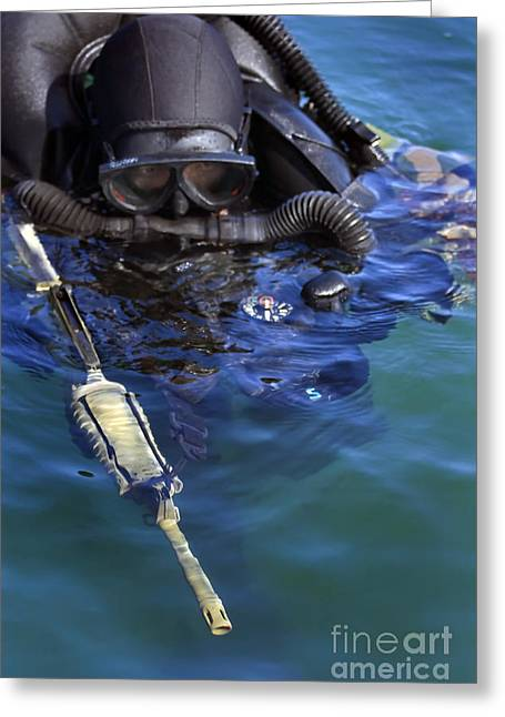 Swimmers Greeting Cards - A Navy Seal Combat Swimmer Greeting Card by Michael Wood