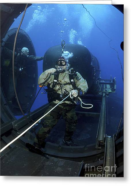 Swimmers Greeting Cards - A Navy Seal Prepares To Launch One Greeting Card by Stocktrek Images