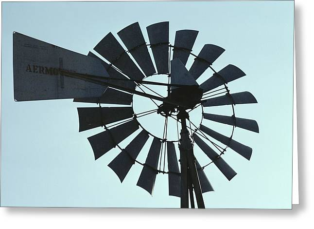 A Near-silhouette Of An Old Windmills Greeting Card by Stephen St. John