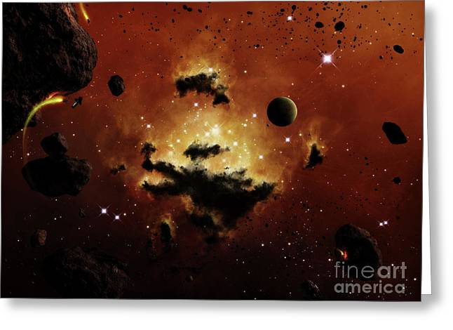 Intergalactic Space Greeting Cards - A Nebula Evaporates In The Far Distance Greeting Card by Brian Christensen