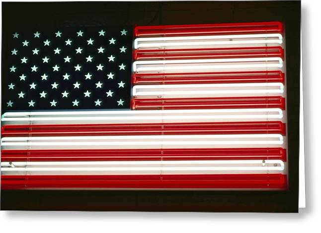 Rockville Greeting Cards - A Neon American Flag Doesnt Need Greeting Card by Stephen St. John