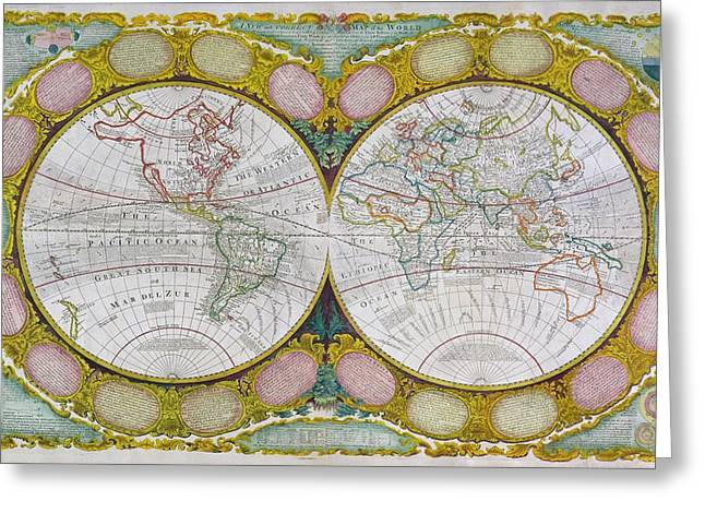 Captions Greeting Cards - A New and Correct Map of the World Greeting Card by Robert Wilkinson