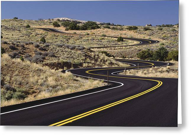 Road Greeting Cards - A Newly Paved Winding Road Up A Slight Greeting Card by Greg Probst