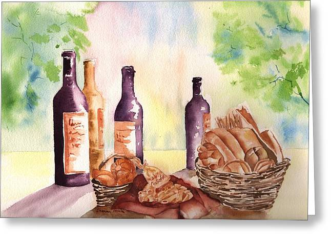 Loaf Of Bread Greeting Cards - A Nice Bread and Wine Selection Greeting Card by Sharon Mick