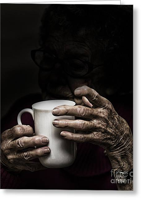 Elderly Hands Greeting Cards - A nice cup of tea Greeting Card by Sheila Smart