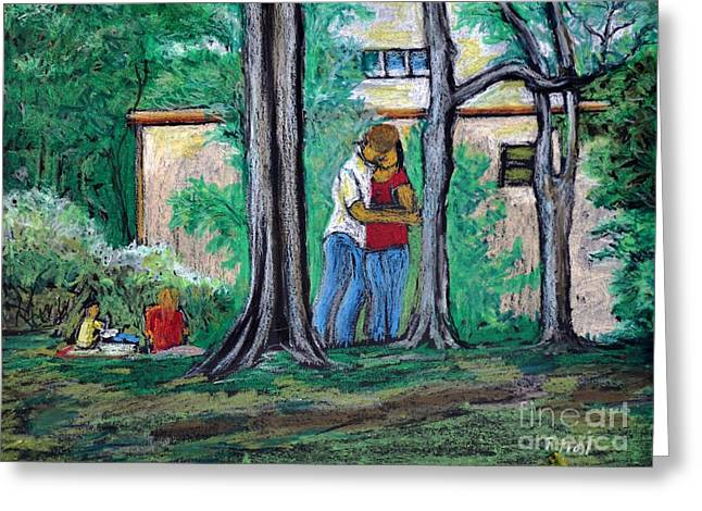 People Pastels Greeting Cards - A Nice Day in Dominion Square  Greeting Card by Reb Frost