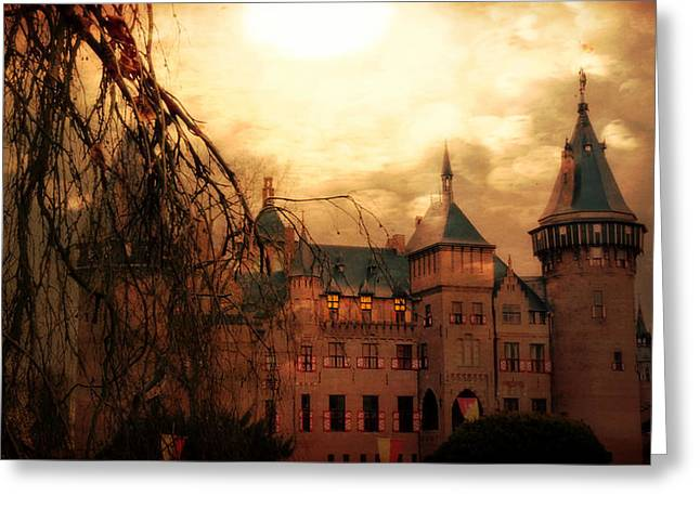 Recently Sold -  - Creepy Digital Art Greeting Cards - A Night at the Castle Greeting Card by Danny Van den Groenendael