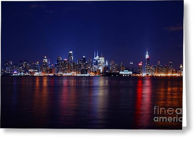 Ferry In New York Greeting Cards - A Night In NYC Greeting Card by Lee Dos Santos